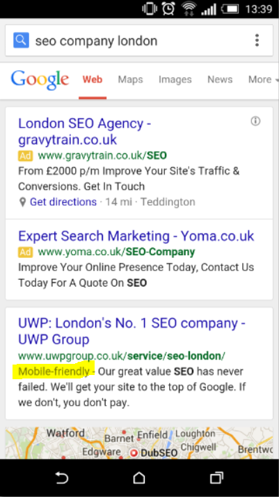 mobile optimisation as a ranking factor - an example