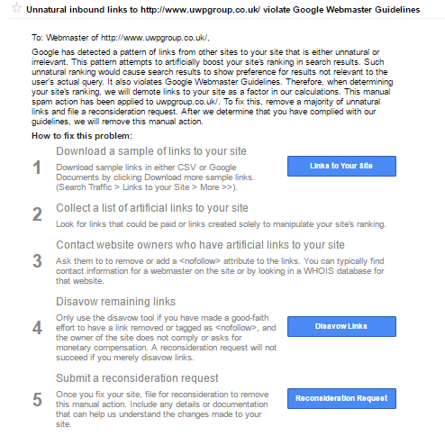 How to recover from a Google manual penalty