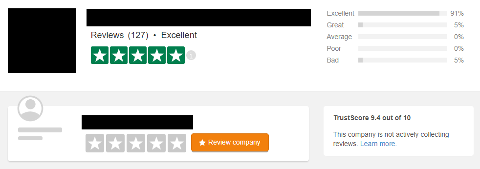 Our client now has 127 reviews and an overall rating of 9.4 out of 10 stars!